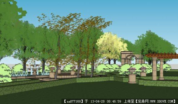 欧式风格小区su精品局部景观设计模型