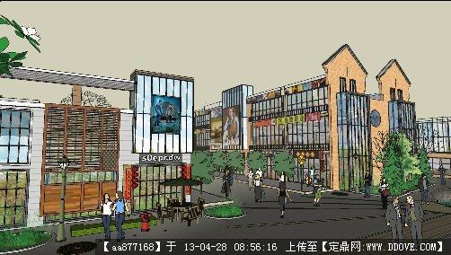 沿街商业楼su精品建筑与景观设计模型 高清图片