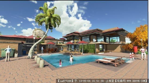 带泳池的欧式风格别墅su精品建筑与景观设计模型