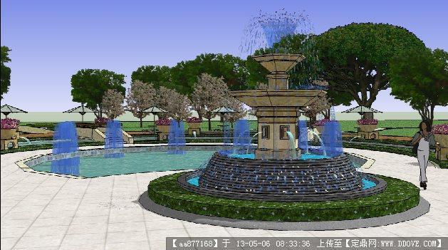 小区局部水池su精品景观设计模型