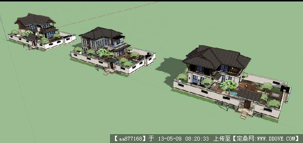 三套东南亚小意思SU图纸建筑与景观设计精品是中w什么别墅模型图片