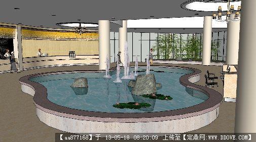酒店大堂su精品室内装饰设计模型的下载地址