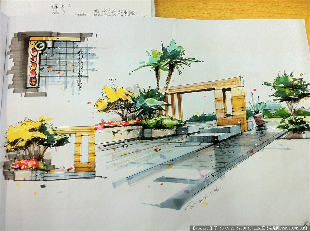 庭院手绘效果图()