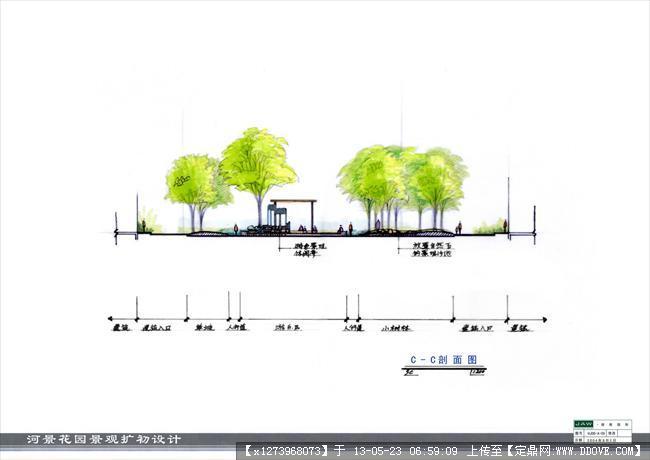 校园广场设计剖面图手绘