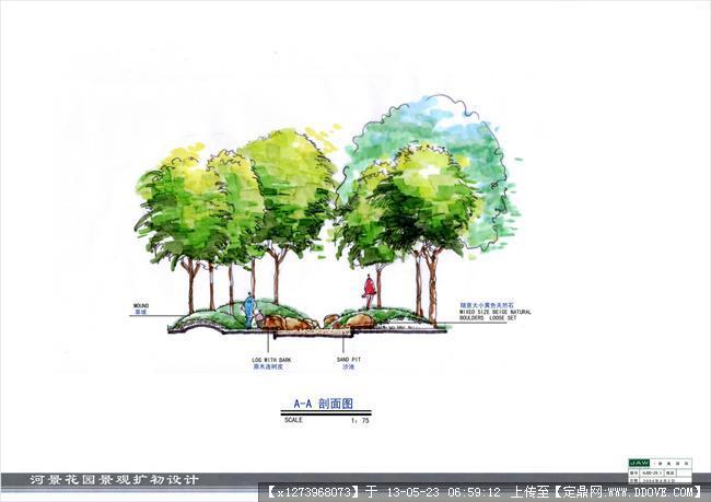 定鼎网 定鼎园林 园林设计文本 居住区 某居住区花园全套景观手绘扩初图片