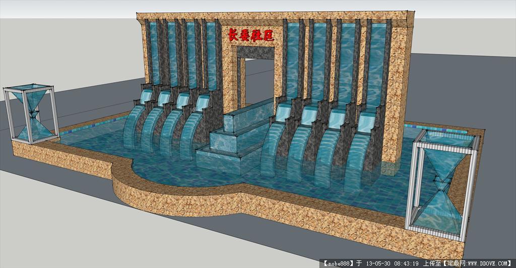三峡水景墙su模型