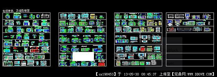 家装电视背景全套施工图-陈旭的电视背景与造型墙面.dwg