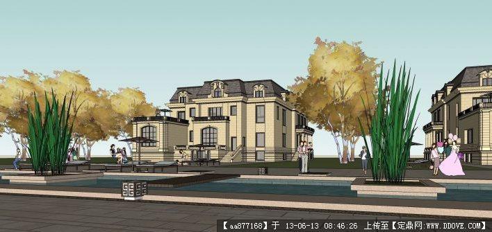 欧式别墅su精品建筑与景观设计模型