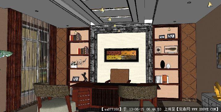 总经理办公室su精品室内装饰设计场景模型