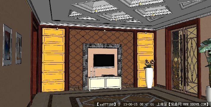 公司前台su精品室内装饰设计场景模型