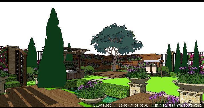 欧式花园别墅室内配套景观su精品设计场景模型
