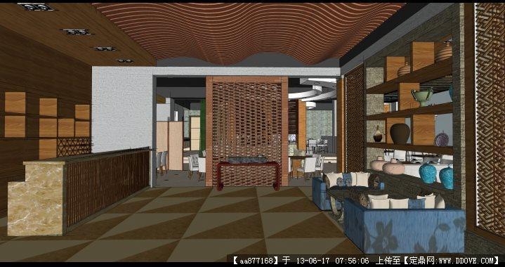 一个餐馆su精品室内装饰设计场景模型