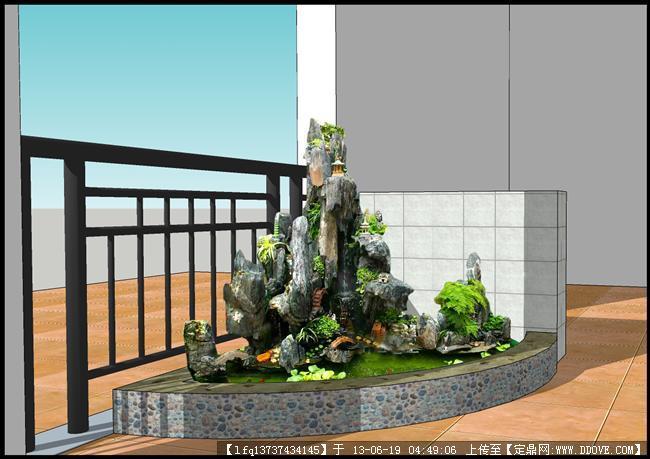 室内小假山二效果图的下载地址,园林效果图,花园庭院