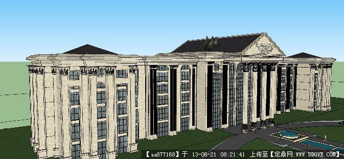 欧式会所su精品建筑设计场景模型