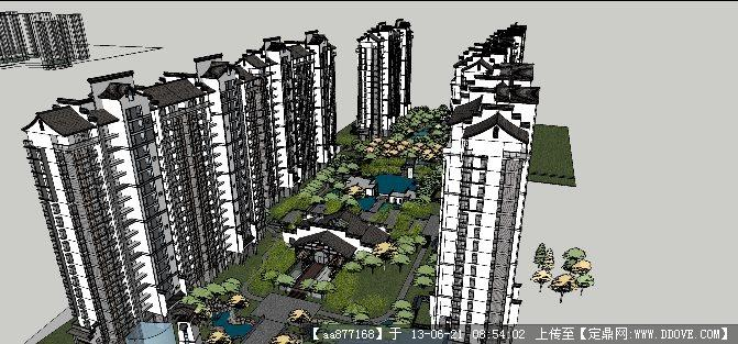 新中式小区su精品建筑与景观设计场景模型