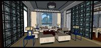 别墅客厅SU(草图大师)精品室内装饰设计场景模型