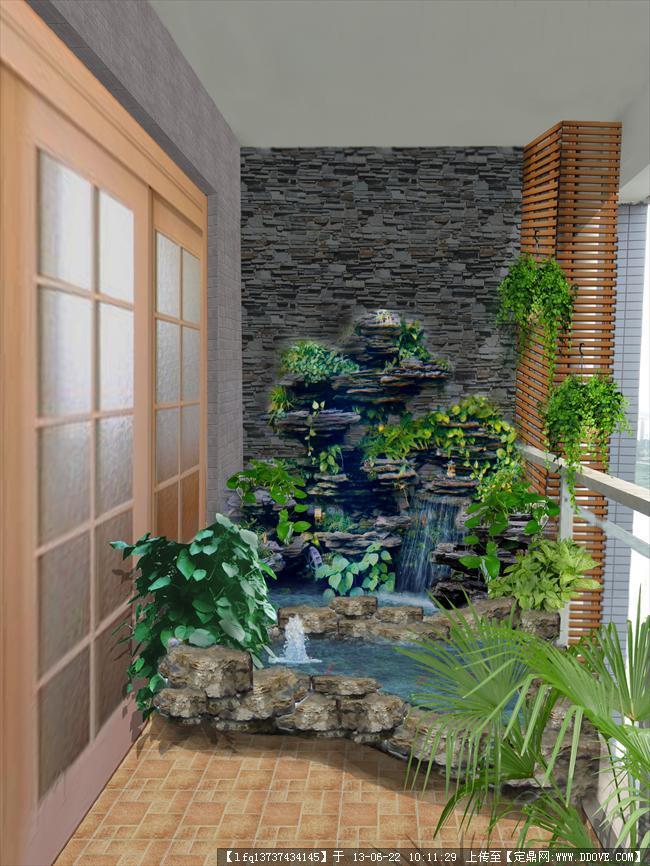 阳台小鱼池设计效果图_阳台假山效果图