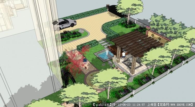 别墅庭院景观模型