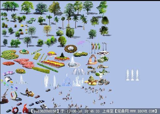 鸟瞰效果图素材的下载地址,配景素材,园林植物,园林