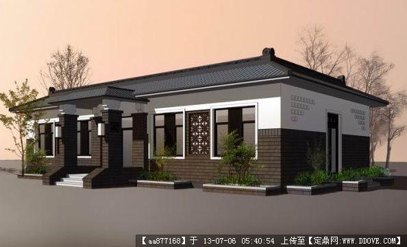 中式一层小别墅su建筑与景观设计精品模型