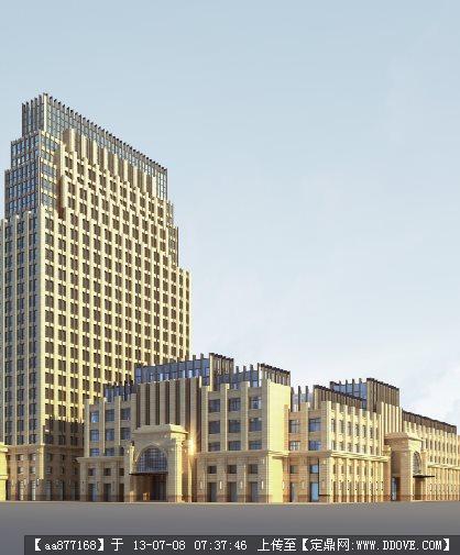 新古典办公楼su建筑设计精品模型(cad+psd+max+su)