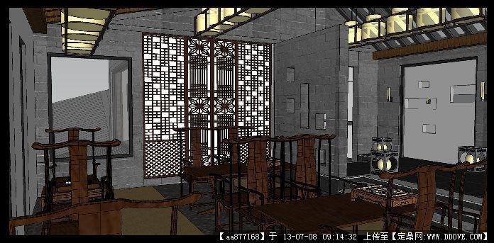 仿古中式茶楼su室内装饰设计精品模型