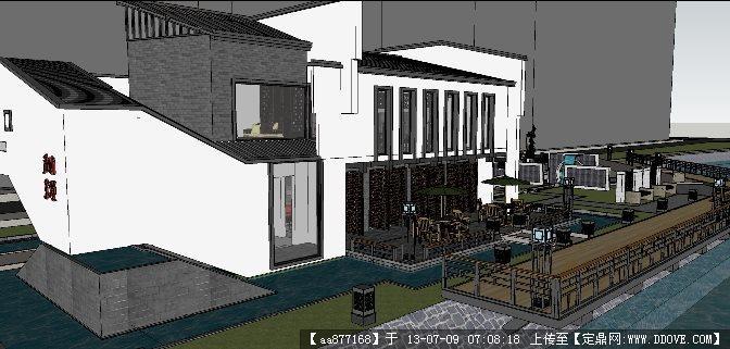 小区会所建筑方案一su建筑与景观设计精品模型