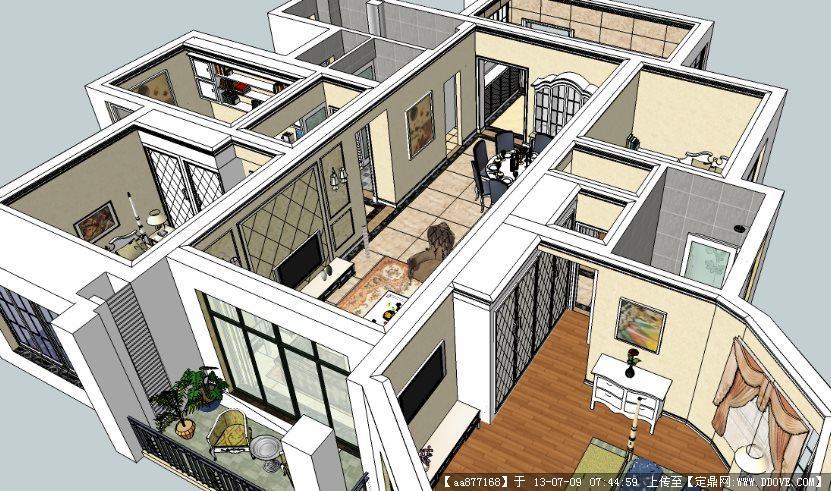 户型家装su室内装饰设计精品模型