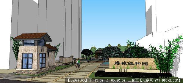 小区入口大门su景观设计精品模型
