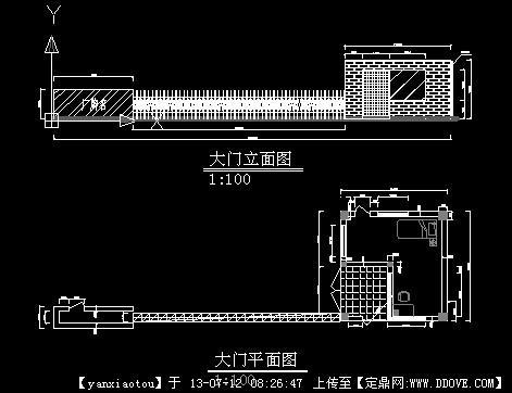 某混凝土厂大门及门卫室CAD