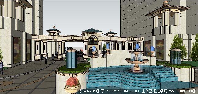 欧式小区入口su建筑与景观设计精品模型