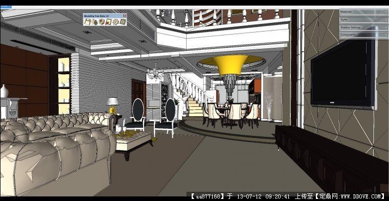 欧式别墅家装场景su室内装饰设计精品模型