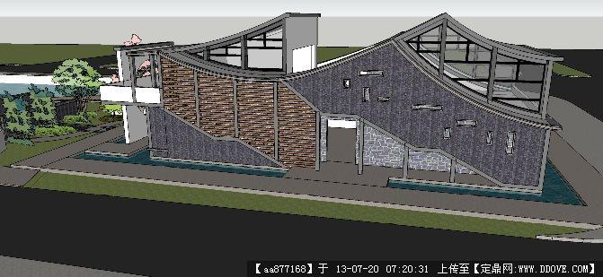 小区会所建筑方案二su建筑与景观设计精品模型
