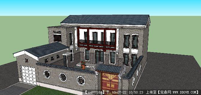 西北风格别墅庭院建筑设计su精品模型