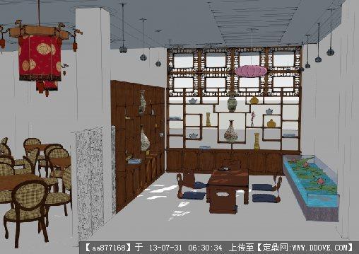 中式茶餐厅室内设计su精品模型