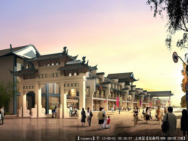 中式风格商业街效果图图片