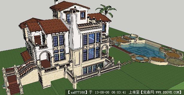 欧式别墅su建筑与景观设计精品模型