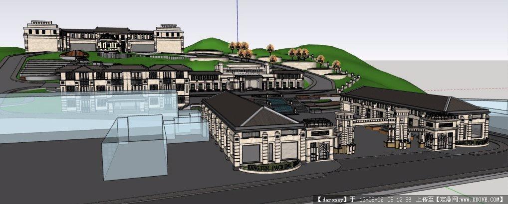 欧式办公楼宿舍楼会所su模型