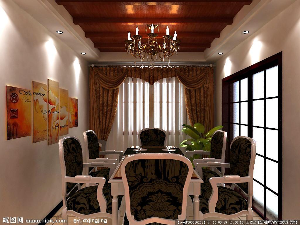 餐厅效果图 挂画 餐桌 窗帘 推拉门 吊顶 室内设计 环境设