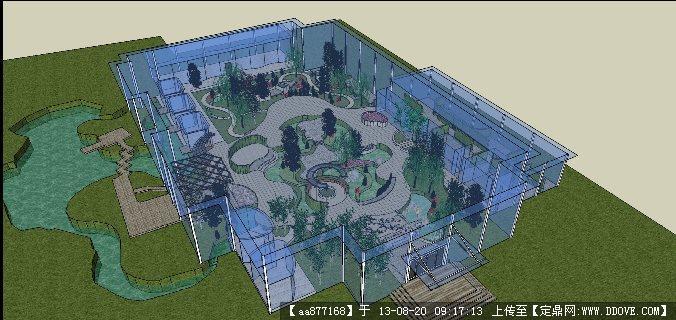 生态餐厅室内中庭su精品景观设计模型