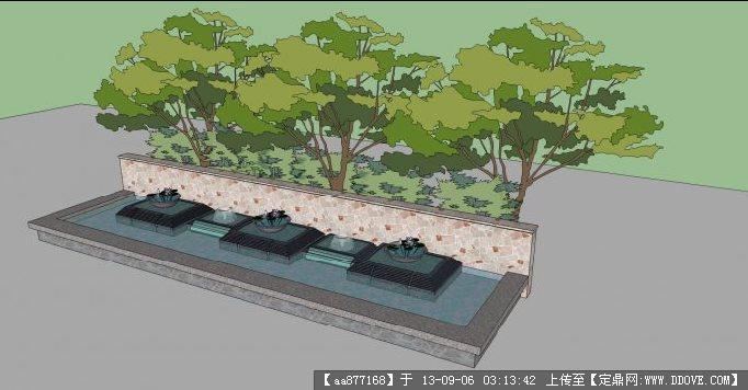 现代水池su精品景观设计模型