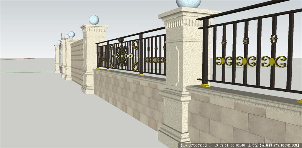 围墙 栏杆su模型