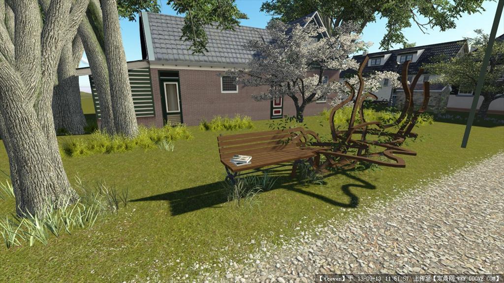 景观小品休息座椅 su模型带效果图三视图