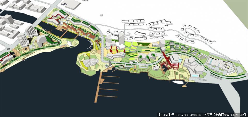 青岛沙子口城市设计su模型