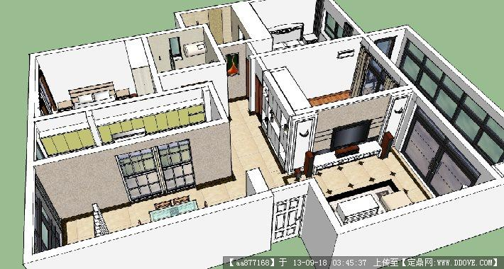大戶型樣板房su室內裝飾設計精品模型
