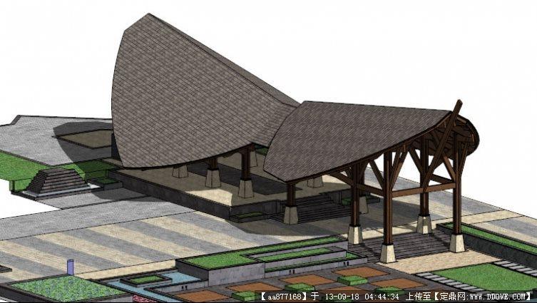 东南亚风格酒店大门su精品建筑设计模型