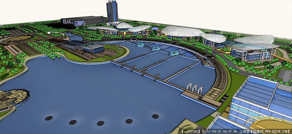 滨海城市规划su建筑与景观设计精品模型