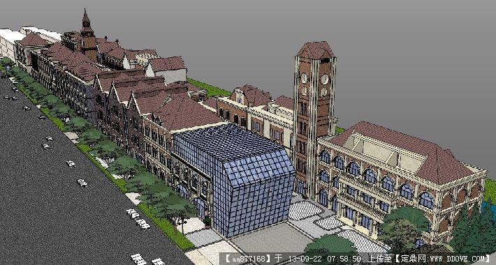 欧式步行商业街su精品建筑与景观设计模型的下载地址