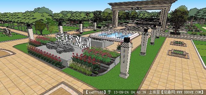 廉政主题公园景观设计su精品模型