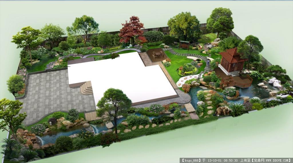 别墅庭院园林鸟瞰效果图psd格式